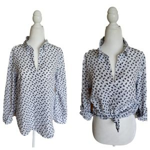 Anthro | Eden&Olivia | Floral Roll Tab Popover Top
